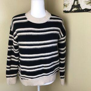 H&M black and cream striped crew neck sweater XS